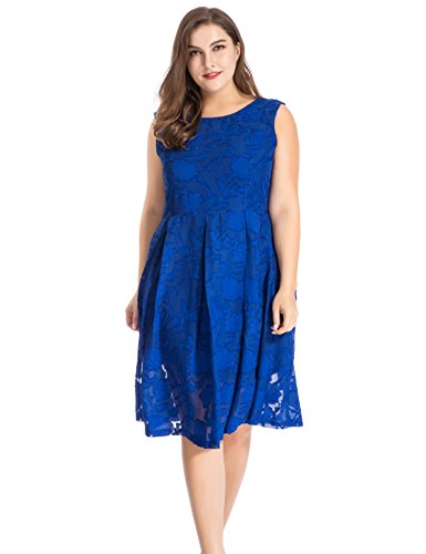 Plus Floral Dress Cocktail Out Chicwe Back Sleeveless Blue Casual Knee Work Royal Party with Burn Length Dress Neck Women's Size V Fc5w5qS4