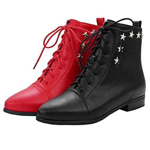 Women's with Booties Ankle Pointed Up Lace Low Red Heel Rivets Winter Boots Toe Autumn AIYOUMEI UWaqwBxdnU