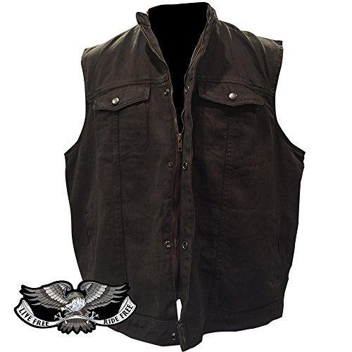M-BOSS MOTORCYCLE APPAREL-BOS13517-BLACK-Men/'s Basic concealed carry biker leather vest.-BLACK-5X-LARGE