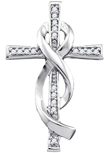 10k White Gold Diamond Christian Cross Crucifix Ribbon Necklace Pendant 1/10 Ctw.