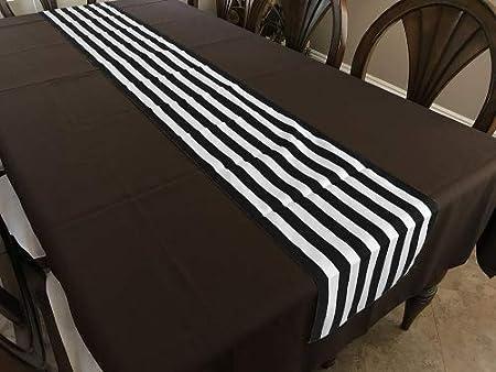 fabricbydesign - Camino de Mesa de algodón con Rayas Blancas y Negras, 2,54 cm: Amazon.es: Hogar