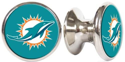 Miami Dolphins (New Logo) NFL Stainless Steel Cabinet Knobs / Drawer Pulls (2-pack)