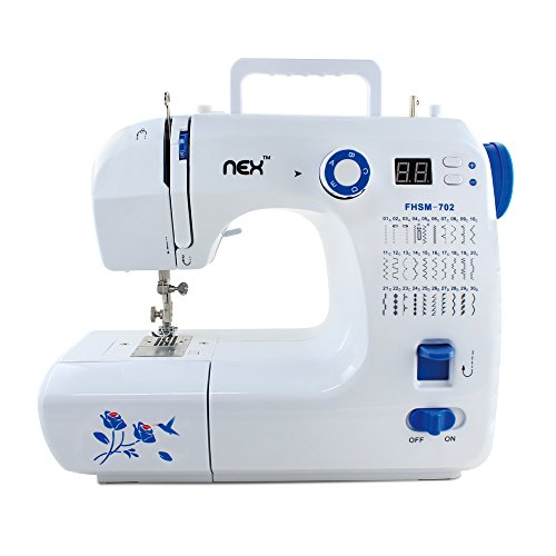 NEX NE-CS114WBL Portable Sewing Machine with 30 Stitch, White/Blue