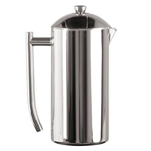 Frieling USA Double Wall Stainless Steel French Press Coffee Maker with Patented Dual Screen, Polished, 36-Ounce Countertop Double Stage Filter