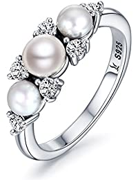 925 Sterling Silver Gorgeous Love Freshwater Pearl Ring for Women Wedding Jewelry