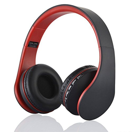 US Shipping Red Bluetooth Headphones Wireless Stereo Headsets Earbuds with Mic Support TF Card FM Radio for iPhone Samsung