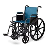 "Medline Folding Wheelchair with Desk-Length Arms and Swing-Away Leg Rests, 18"" x 16"" Seat, Microban Antimicrobial Protection, Gray Frame, Teal Nylon Upholstery"