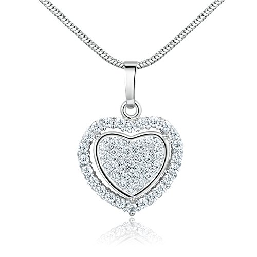 GULICX Silver Tone Gift White Clear Full Cubic Zirconia Heart in Heart Necklace Pendant Chain
