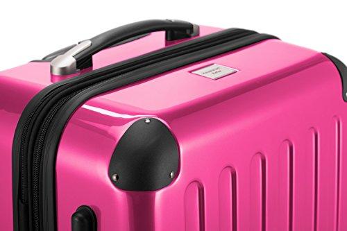 HAUPTSTADTKOFFER® Hartschalen Koffer · 3 Koffergrößen (45 Liter · 87 Liter · 130 Liter) · Hochglanz · Entweder mit Normalen oder TSA Zahlenschloss · MAGENTA (45 Liter)