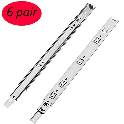 - 6 Pair of 16 Inch Full Extension Heavy Duty Drawer Slides,Lubrication Steel Ball Bearing