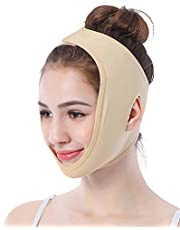 Facial Lifting Afslankriem, Gezicht Wang V-vorm Lift Up Dunne maskerband, Gezichtslijn Glad Ademend Compressie Dubbele kin Verband verminderen voor dagelijks gebruik(L)