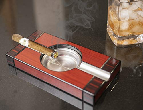 STS SUPPLIES LTD Cuban Cigar Ashtray Rectangle Wooden Double Cherry Smoker Accessories Man Woman Gift Valentines Anniversary Outdoor Indoor Patio Modern & eBook by E2F