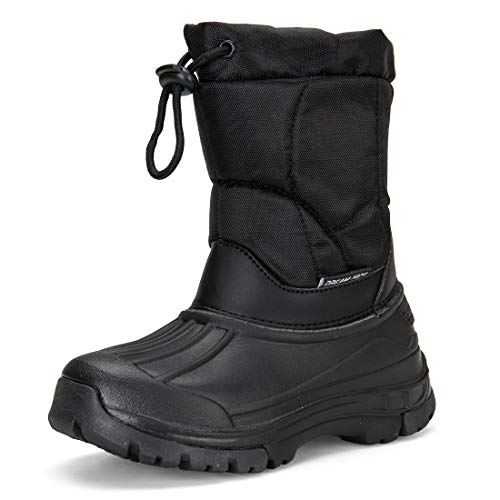 (DREAM KIDS Boy Snow Boots Outdoor Waterproof Cold Weather Winter Boots for Girls(Toddler/Little Kid/Big Kid) DKTX001-T5-29 Dark Black)