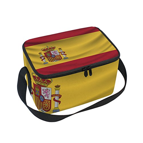 Spain Flag Insulated Lunch Box Cooler Bag Reusable Tote Outdoor Travel Picnic Bags by CoolPrintAll