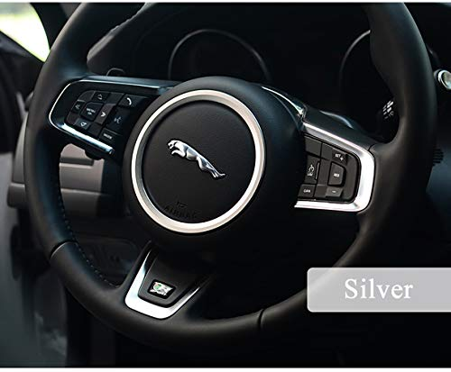 TopDall Aluminum Alloy Car Steering Wheel Decoration Ring Sticker Decals for Jaguar XE XFL F-PACE F-Type/XF 2015-2018