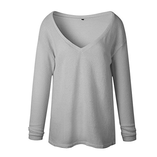 V Casual Sweater Tricots Manches Maille Jumper Pull Hiver Col Pulls en Automne Femme Smalltile Gris Longues Tops Chandails qXFn1wxp4A