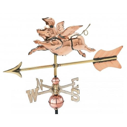 East Coast Weathervanes and Cupolas Garden Flying Pig Weathervane Polished Copper (Copper, W/Roof Mount)