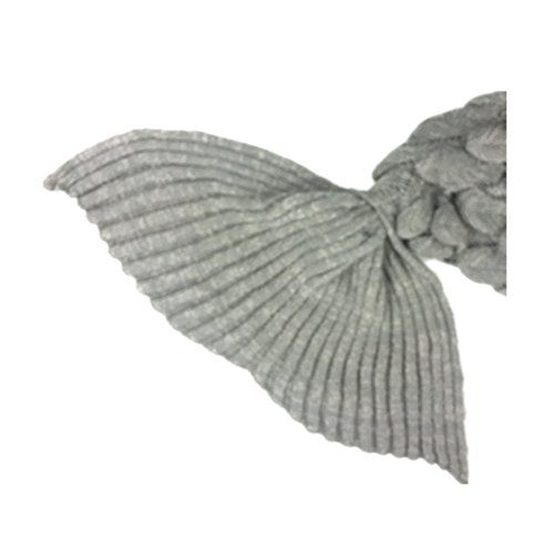 - primerry Present Mermaid Fish Tail Imitation Thickening Cashmere Cotton Cloth Blanket Crochet Quilt (Gray)