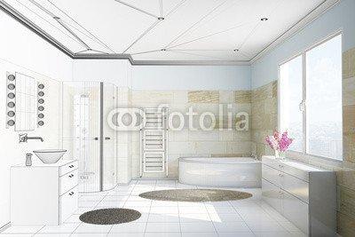 Bagno con piastrelle in terracotta 79578608 tela 30 x 20 cm