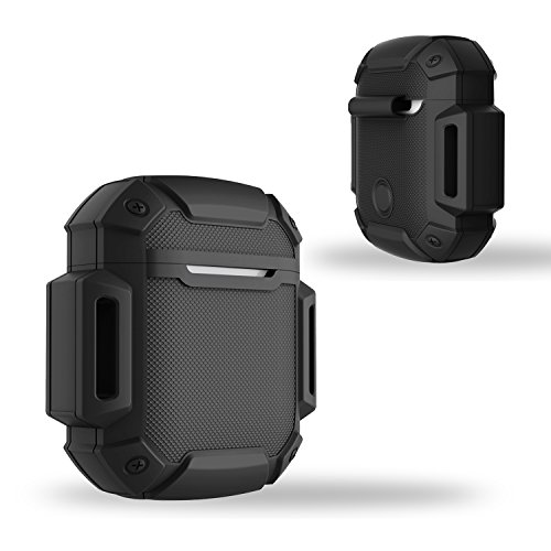 Shock Resistant Case Protective Silicone Cover Running Design with Hard Sleeve and Keychain for Charging Compatible Apple AirPods(Black)