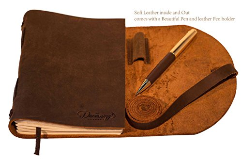 BEST LEATHER JOURNAL GIFT SET - for women men - UNIQUE SOFT ROLL UP vintage LUXURY medium UNLINED 7 x 5 notebook , antique PEN & BOX - FOR TRAVEL WRITING DIARY / ART SKETCHBOOK him her