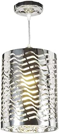 New Legend Lighting 1-Light Chrome Finish Metal Shade Hanging Pendant Ceiling Lamp Fixture