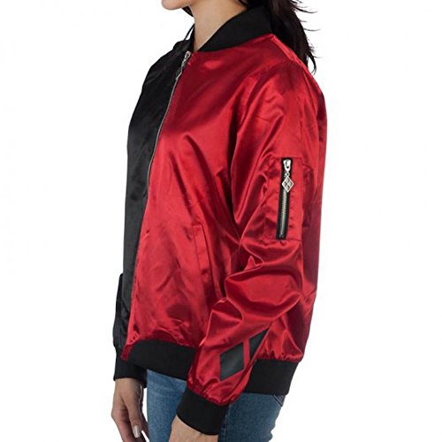 DC Comics Harley Quinn Diamonds Red and Black Juniors Fitted Bomber Jacket