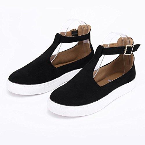 Casual Platform Flat Round Heel Fheaven suede Shoes Strap Sneaker Style Shoes Vintage Black Buckle Toe Women UC0qYnP