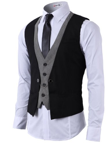 (H2H Mens Fashion Business Suit Layered Vest With Chain Rings BLACK(CMOV01), US L (Asia XL))
