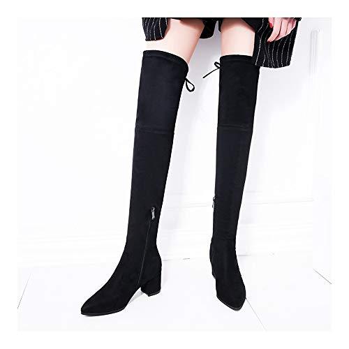 Concisa Mujeres Rodilla Plataforma Tacón Tamaño Haoliequan Moda Invierno Mujer Zapatos De 32 42 Marrón Alto Botas Cremallera qn6t1