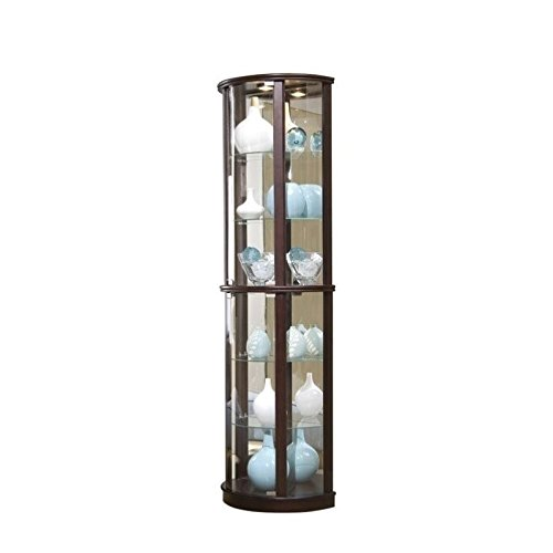Beaumont Lane Chocolate Cherry Half Round Mirrored Curio in Brown