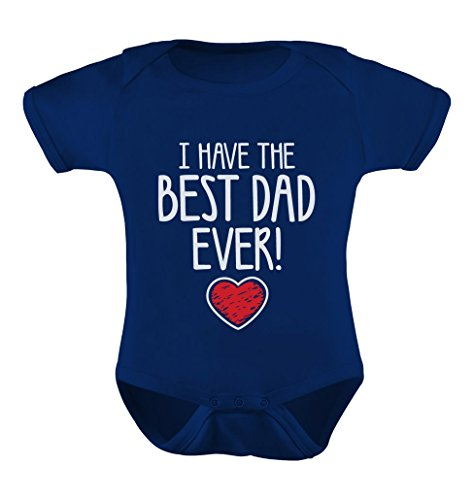 TeeStars I Have The Best Dad Ever! Fathers Valentine's Day Gift Cute Infant Baby Bodysuit Newborn Navy (Valentines Day Gifts For Dad)