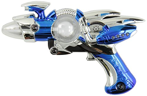 Rhode Island Novelty Super Spinning Laser Space Gun with LED Light and Sound (Colors May Vary)