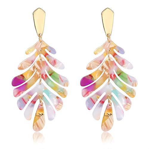 YINL Acrylic Earring for Women - Statement Leaf Drop Dangle Earrings Resin Tortoise Earrings Bohemian Floral Metal Stud Fashion Jewelrys