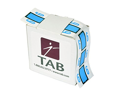 TAB CompuColor Numeric Label Roll, 6, Light Blue, 1