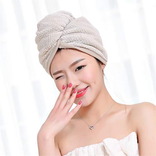 Alexlove Microfiber Fleece Fabric Women Hair Towel Bathroom Super Absorbent Quick-Drying Bath Towel Hair Dry Cap Salon Towel 2360Cm 1PC Khaki