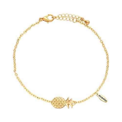 NOUMANDA Lovely Fruit Chain Metal Pineapple Charm Bracelets Fashion Jewelry