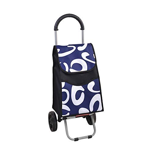 折りたたみショッピングカート、食料品の買い物のキャンピングカーポータブルスチールチューブフレーム6インチミュートホイール防水オックスフォード布(カラー:A) B07SCZN7LF A