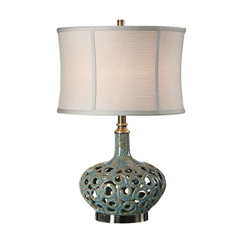 Pierced Turquoise Swirl Distressed Table Lamp | Open Mottled ()