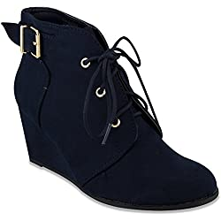Rampage Womens MAIDEN Lace Up Wedge Bootie Ankle Boot 9 Navy