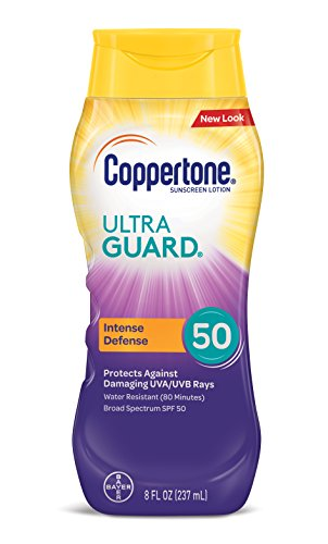 - Coppertone ULTRA GUARD Sunscreen Lotion Broad Spectrum SPF 50 (8 Fluid Ounce) (Packaging may vary)