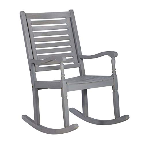 Walker Edison Furniture Company Outdoor Wood Patio Rocking Chair – Gray Wash