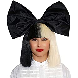 OFFICIALLY LICENSED Sia Costume Wig 2 Tone Half Blonde Black Bob Wig with black Bow Premium Quality Synthetic Hair SIA Cosplay Wigs For Epic Halloween & Rocker Parties - Multicolor Short Black & White