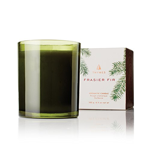 Thymes - Frasier Fir Pine Needle Green Glass Jar Candle, 50-Hour Burn Time - 6.5 Ounces