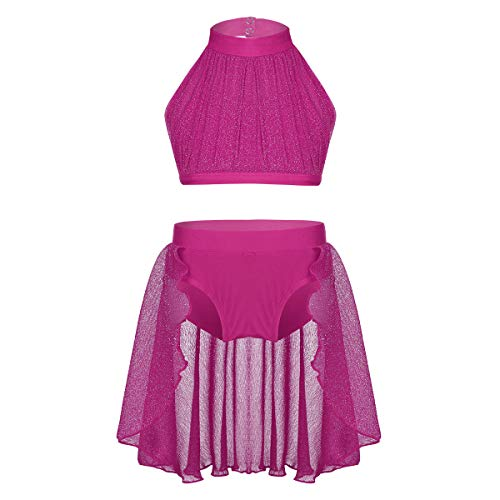 - inlzdz Little Big Girls Lyrical Dance 2pcs Outfit High Turtleneck Crop Top with Skirted Bottoms Athletic Dance Costume Rose 7-8