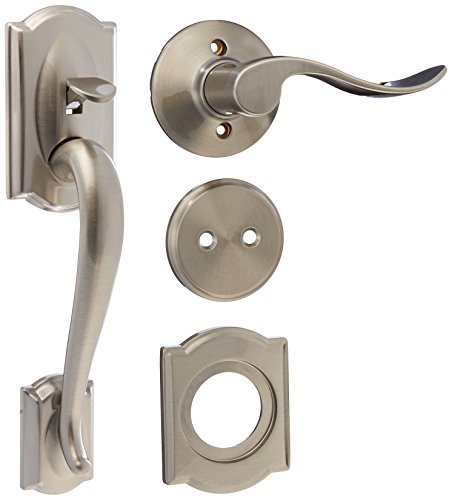 Schlage F93 CAM 619 ACC Camelot Dummy Style Handleset with Accent Interior Right Hand Lever, Satin