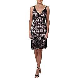 Love Moschino Womens Lace Knee Length Slip Dress Black 6