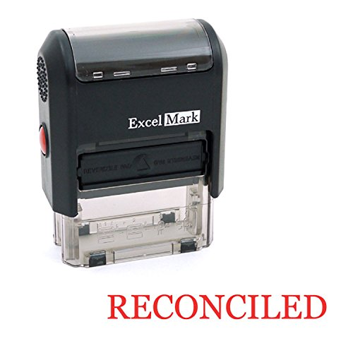 RECONCILED Self Inking Rubber Stamp - Red Ink (ExcelMark A1539)