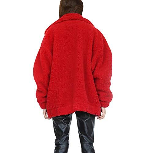 Warm with Fur Women's Shaggy KOERIM Long Sleeve Jacket Fluffy Faux Winter Red Coat Pockets PqawzwxH