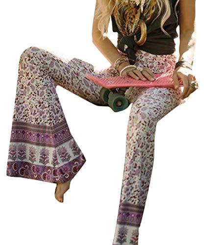 Spirio Women Pants Bodycon Elastic Waist Print Bell Bottom Various Palazzo Trousers 3 L